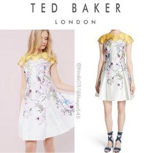 Ted Baker Reliat flower cap sleeve dress 2 (US 6)
